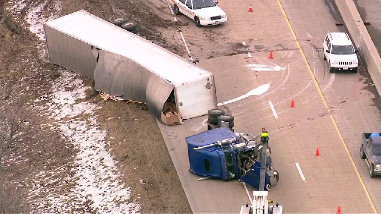 Semi rollover blocks westbound I-80 at Ridge Road