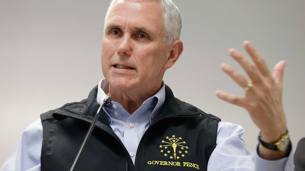 (FILE) Indiana Gov. Mike Pence on March 25, 2015.
