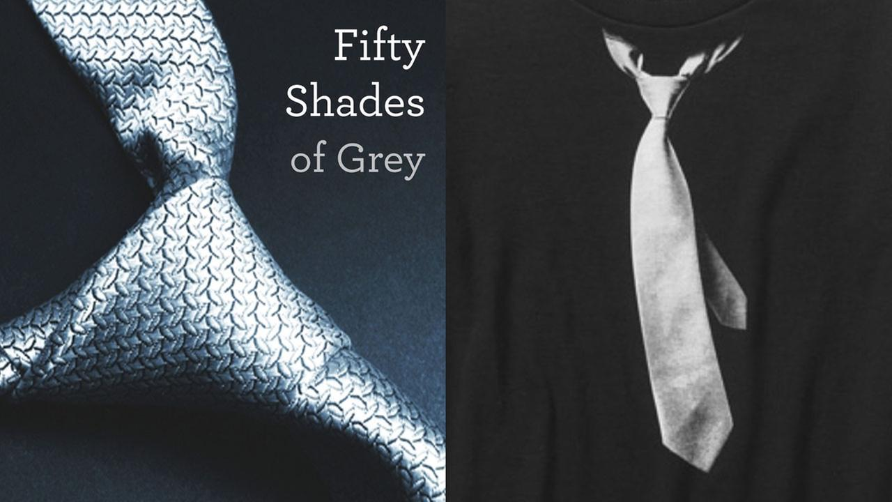 Cover of Fifty Shades of Grey next to Walmart boys T-shirt with grey tie.