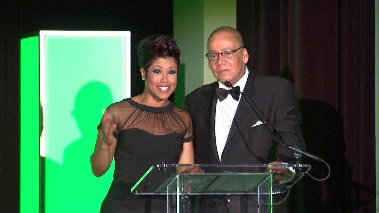 ABC7s Charles Thomas and Val Warner handed out awards at the Night of 100 Stars at the Southshore Cultural Center Saturday night.