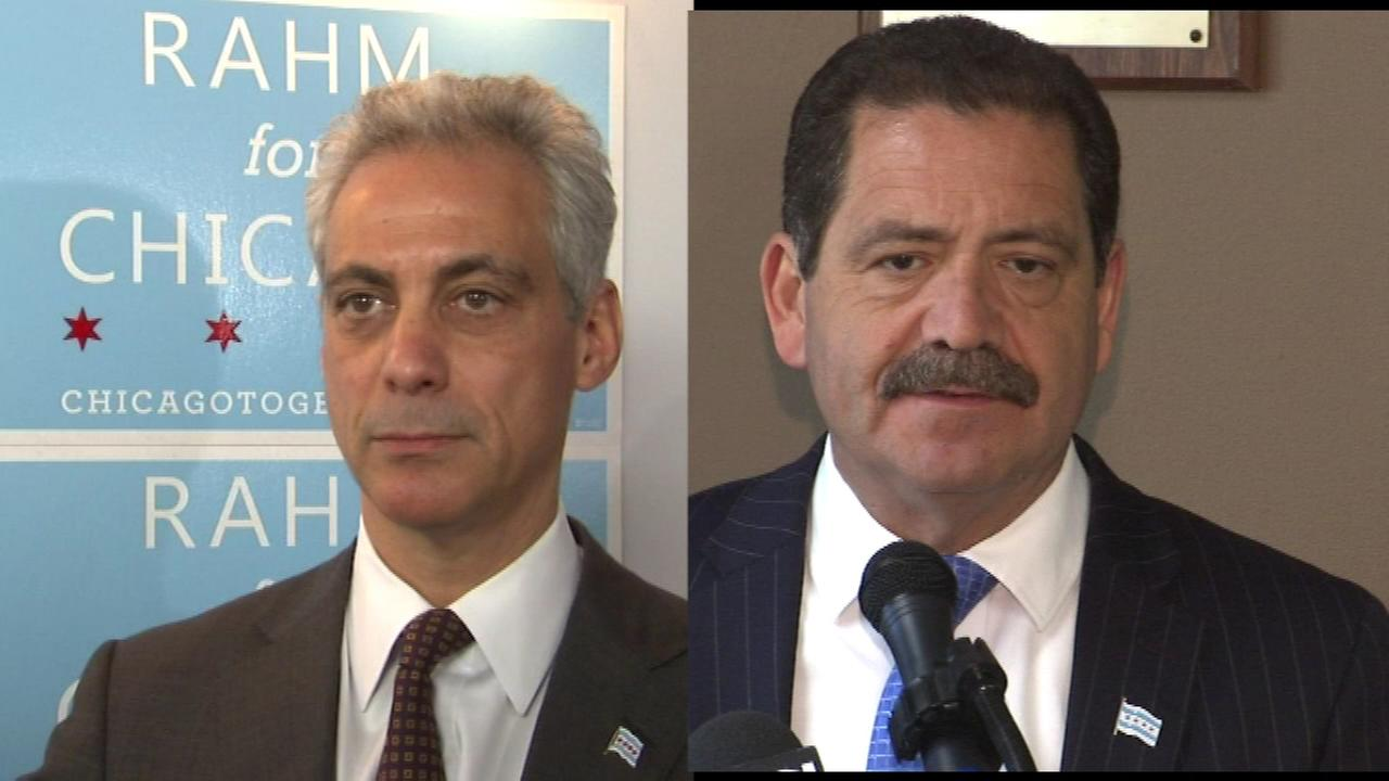 Mayor Rahm Emanuel (left) and Cook County Commissioner Jesus Chuy Garcia face off in Thursdays runoff election for mayor.