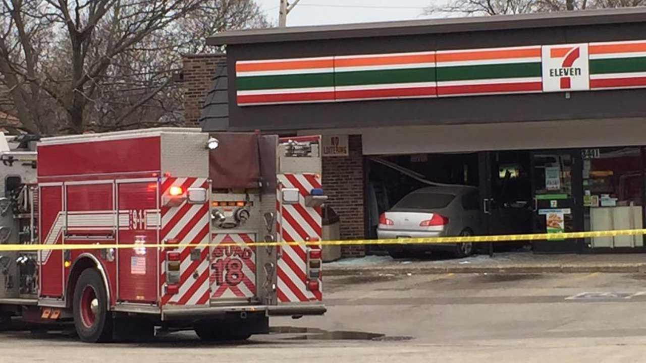 A car has crashed into the front of a 7-11 store in north suburban Skokie Sunday afternoon.