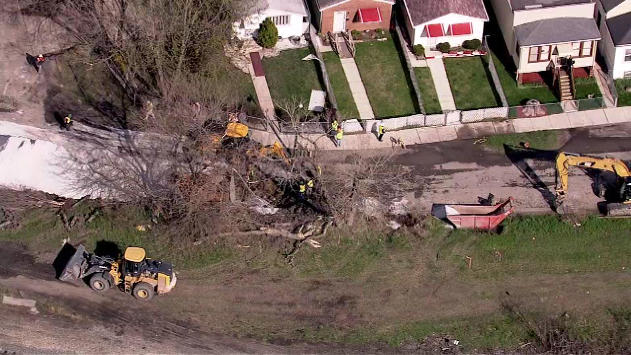 Crews are working to repair a gas leak after a construction crew hit a gas line near 90th and Drexel on Chicagos South Side.