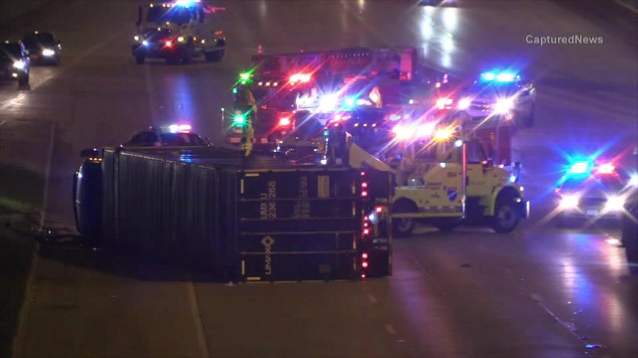 I-94 re-opens after crash involving semi, car near Edens spur