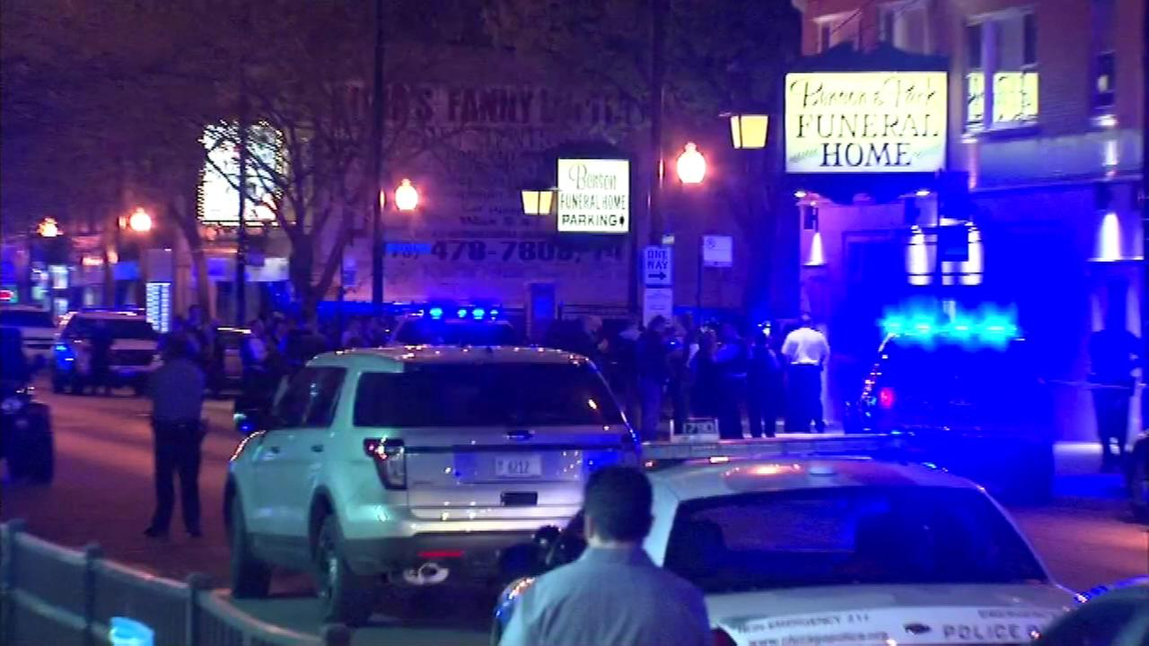 Two people were injured during a shooting at a funeral home in the citys Albany Park neighborhood Monday night.