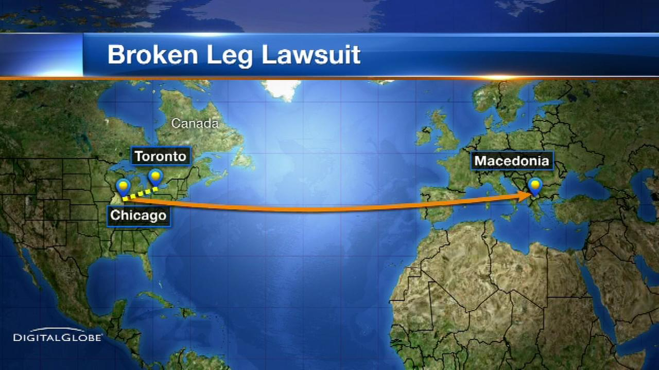 Woman sues airline, says crew broke her leg