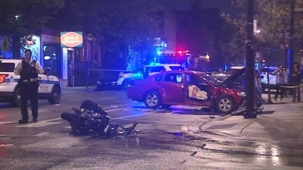Woman in critical condition after motorcycle hits car in Bucktown