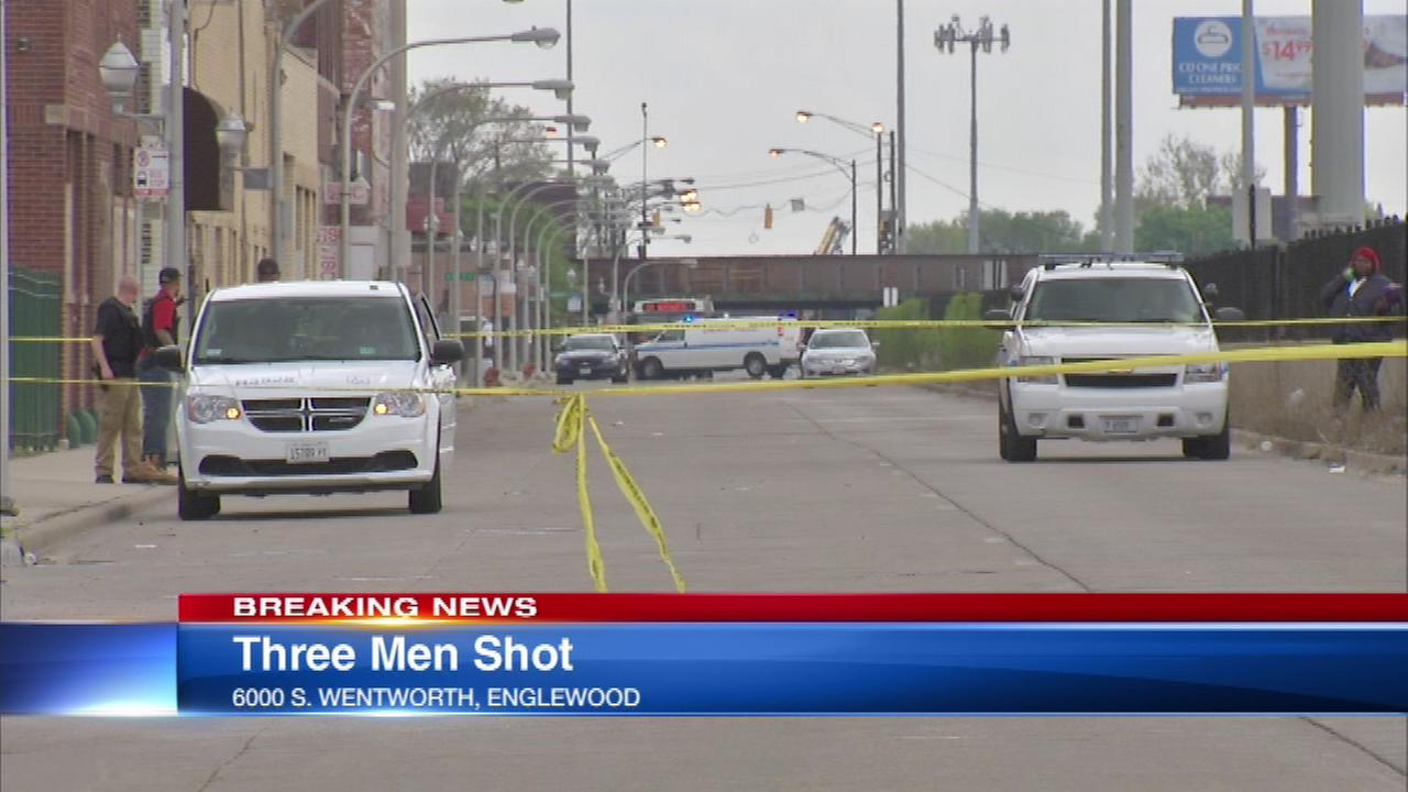 Three men were shot Friday afternoon at 60th and Wentworth in the Englewood neighborhood, police said.