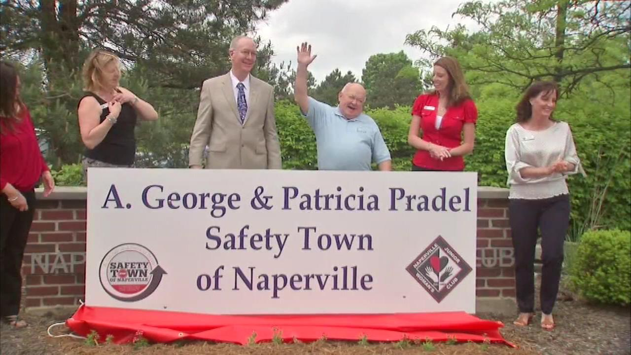 Safety Town in west suburban Naperville was dedicated and renamed for outgoing mayor George Pradel and his wife.