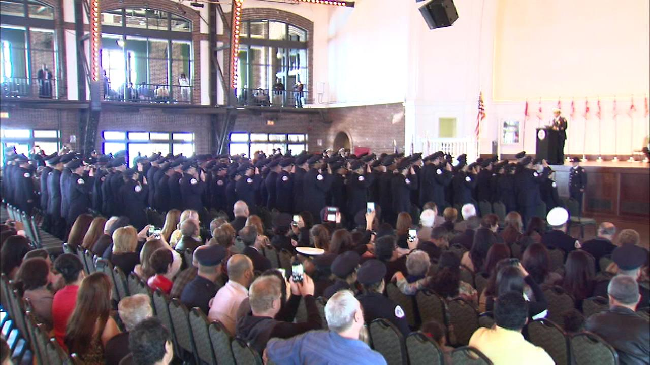 Sixty-four firefighters and 52 paramedics graduated from the Chicago Fire Academy Friday.