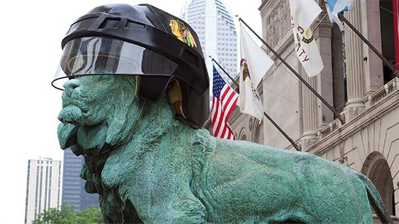 Art Institute lions get Blackhawks helmets