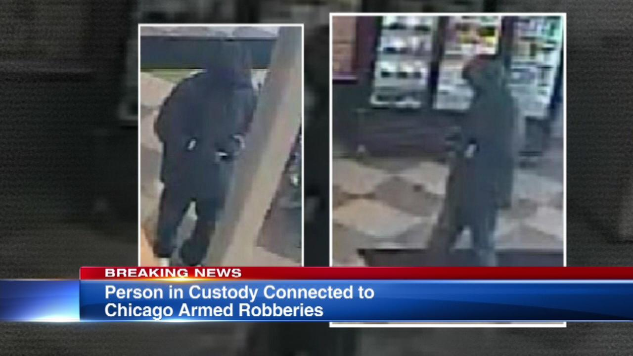 Suspect in custody in connection with armed robberies, police say