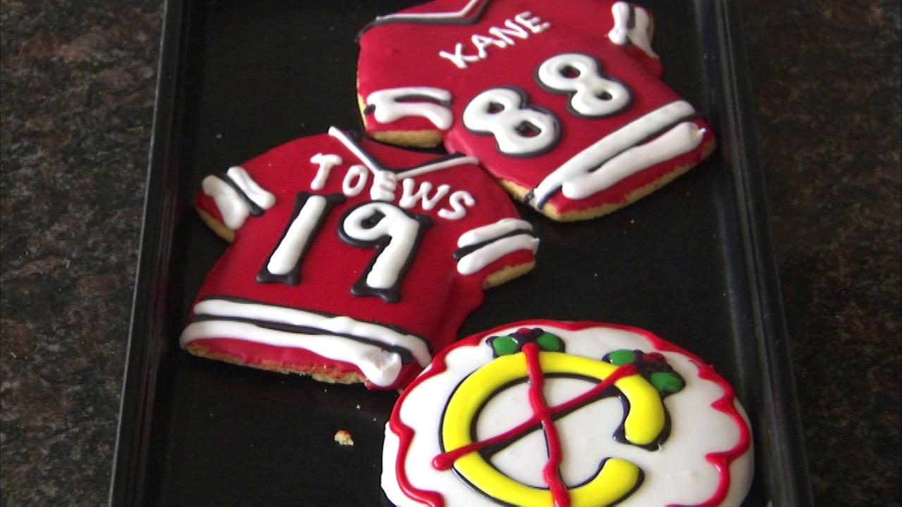 Blackhawk jersey cookies are on sale at Central Continental Bakery in suburban Mount Prospect.