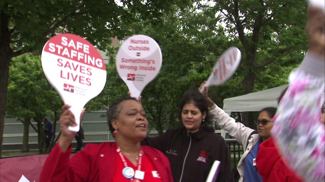 Nurses picketed outside Stroger Hospital Friday morning.