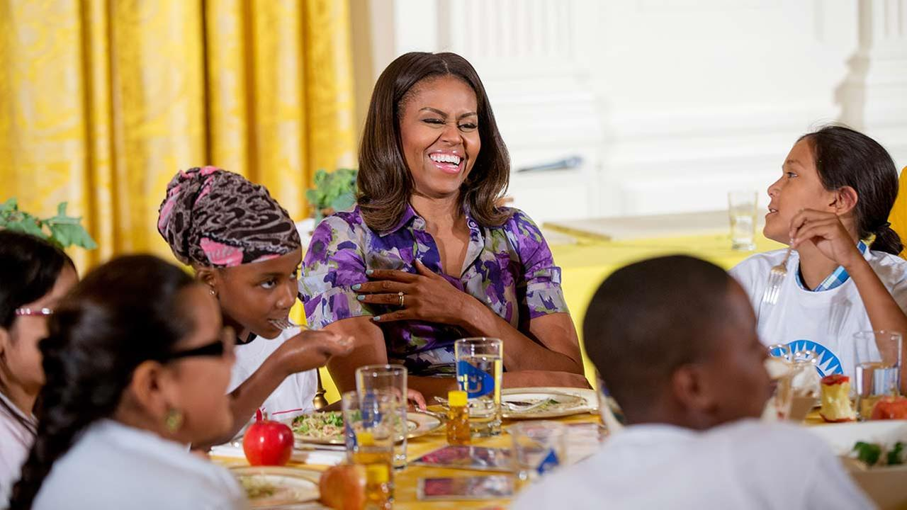 First lady Michelle Obama talks with children who participated in events with the Lets Move! campaign Wednesday, June 3, 2015.
