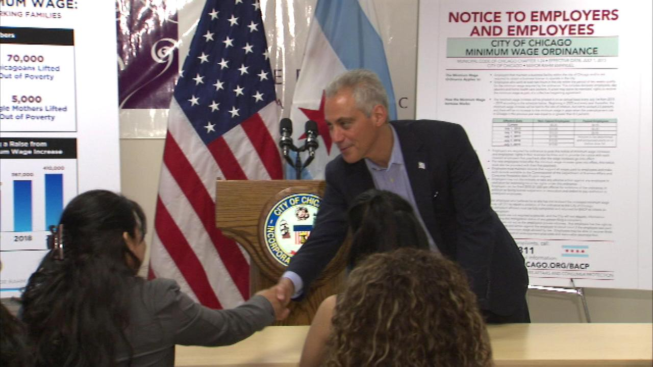 Mayor Rahm Emanuel kicked off a series of workshops to help educate workers about the minimum wage increase and their rights in the workplace.