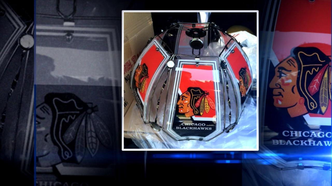 Tons of bogus Blackhawks merchandise was seized from a store in suburban Elk Grove Village.