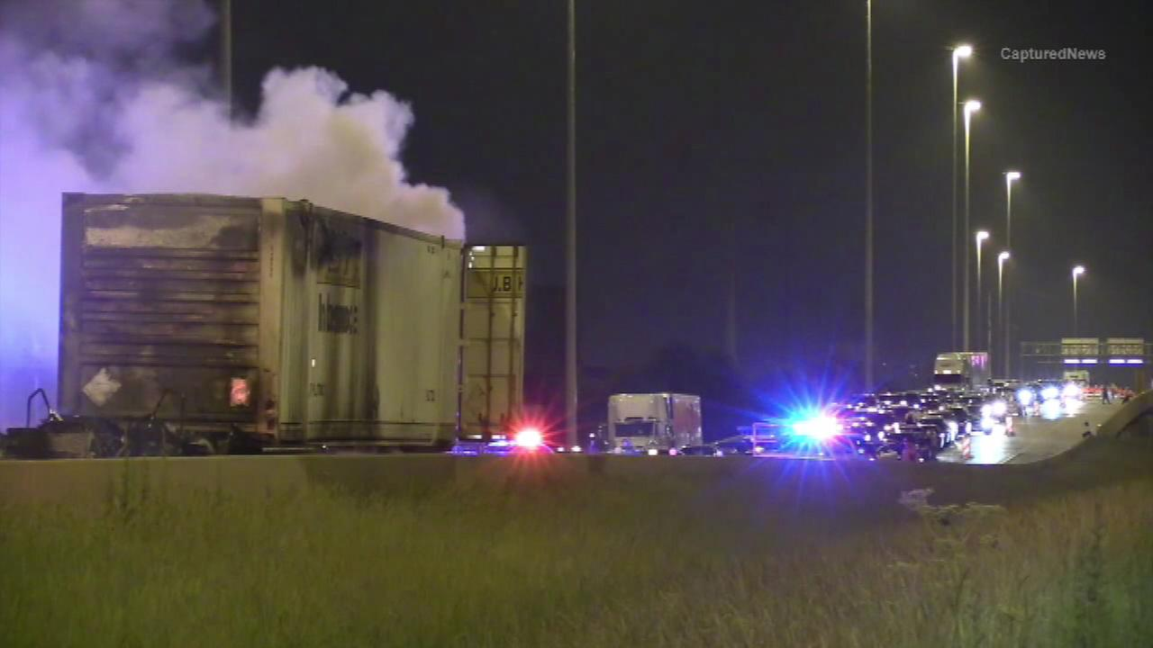 A semi-truck fire jammed traffic for three hours on Interstate 55.