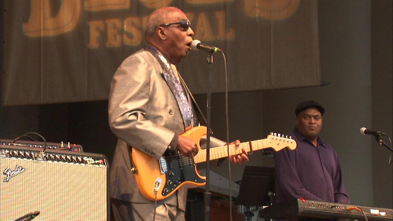 Blues guitar master Clarence Carter kicked off Blues Fest in Grant Park Friday night.