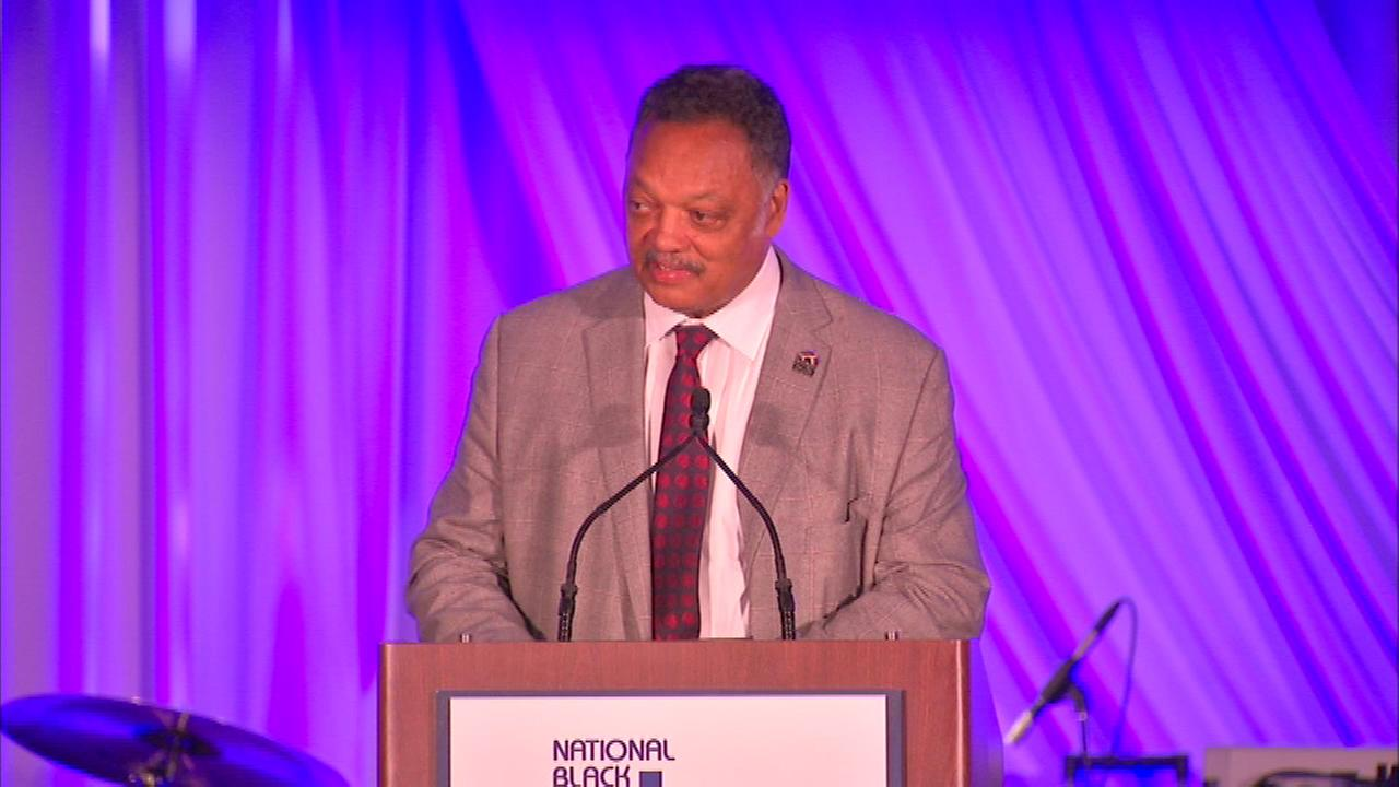 Rev. Jesse Jackson spoke to the large crowd on hand Friday night.