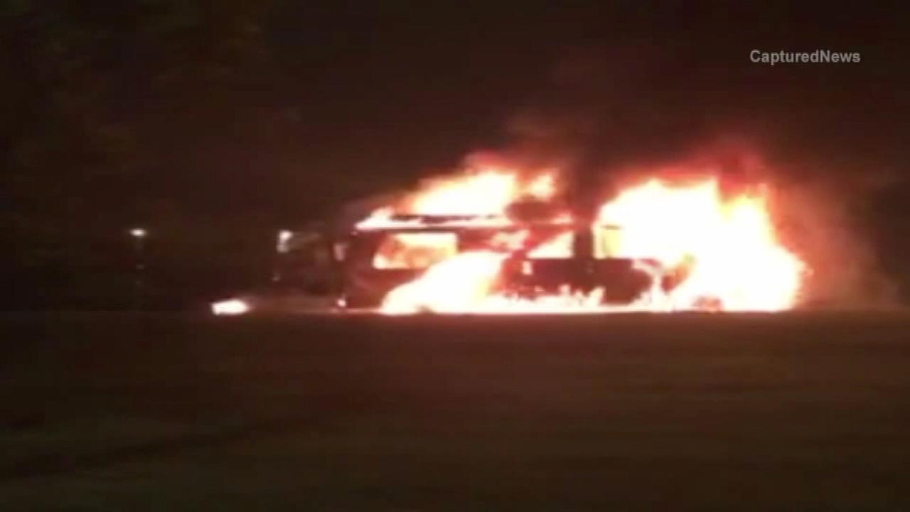 Van catches fire on Lake Shore Drive