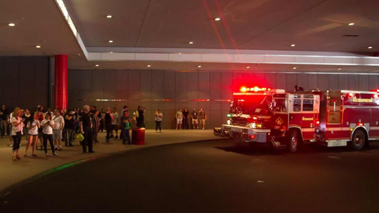 A fire forced the evacuation of an adult film convention in suburban Rosemont Saturday.