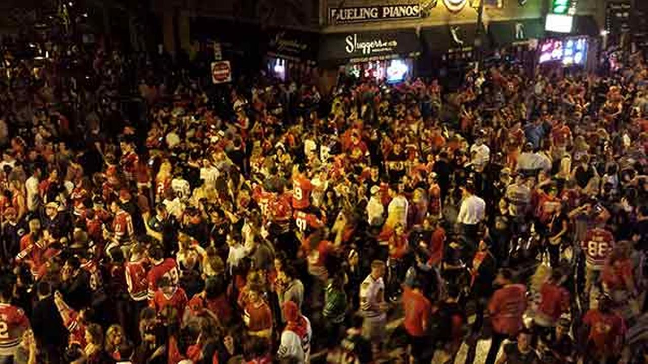 Fans packed Clark Street in Wrigleyville after the Chicago Blackhawks won their third Stanley Cup in six years on Monday, June 15, 2015.