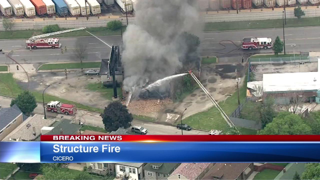 Building fire in Cicero Wednesday afternoon.