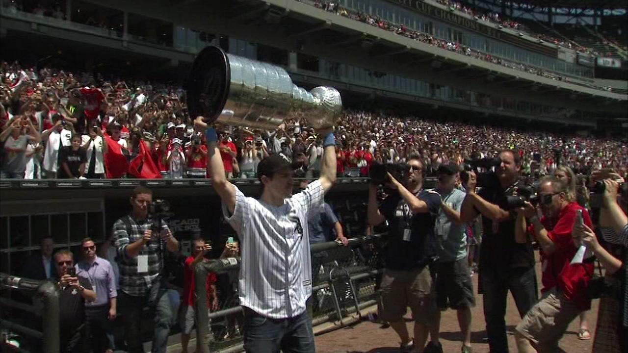 Blackhawks center Andrew Shaw displays the Stanely Cup at U.S. Cellular Field before the White Sox game on Sunday.