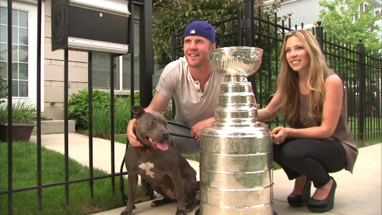 The Stanley Cup has officially gone to the dogs, courtesy of Chicago Blackhawks forward Brian Bickell.