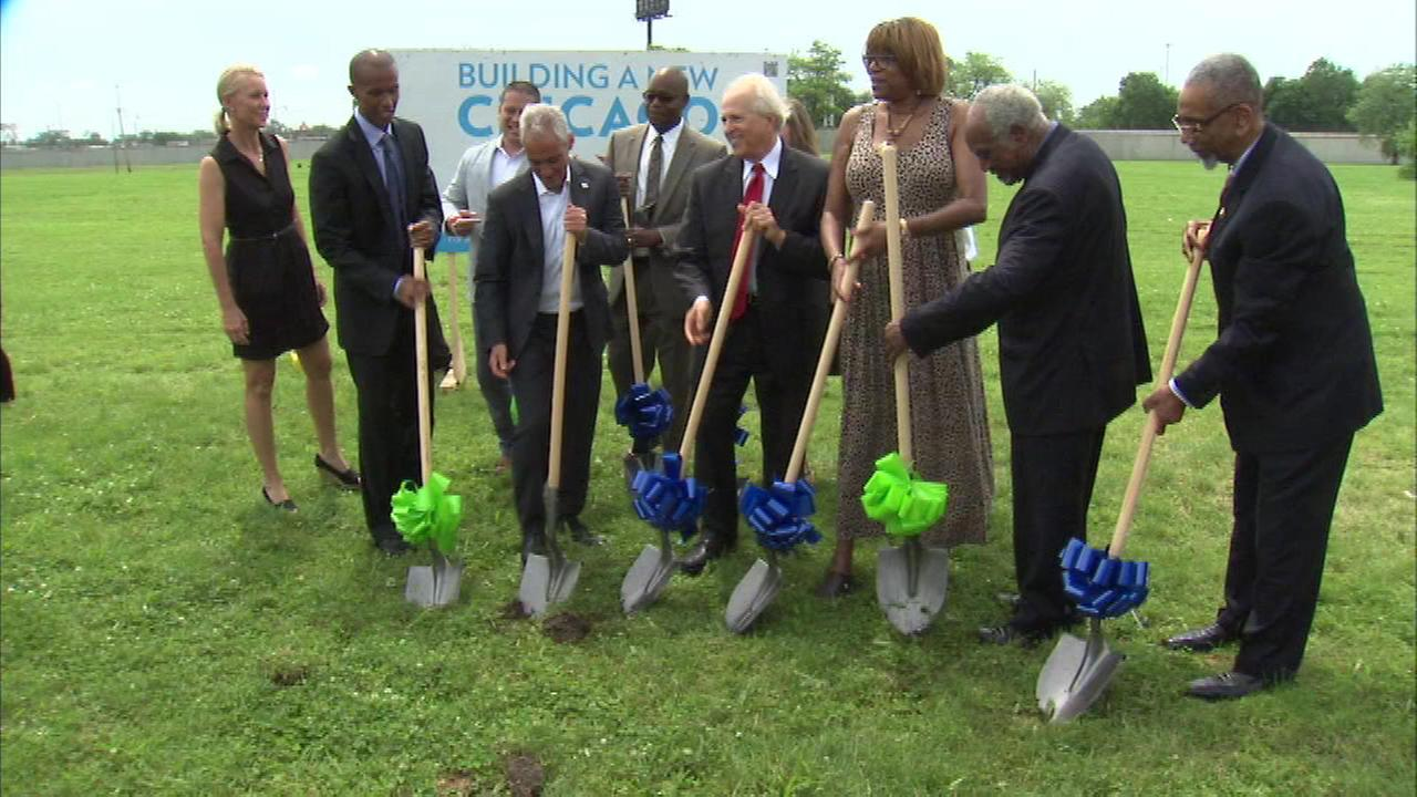 Officials broke ground Monday on the XS Tennis Village in Washington Park.