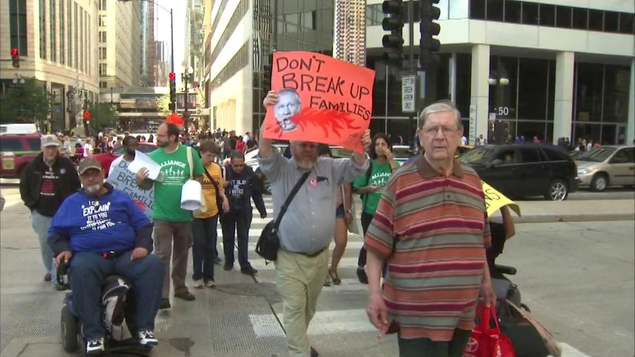 Protestors spoke out against cuts to home care services in the Illinois state budget at a rally late Saturday afternoon.