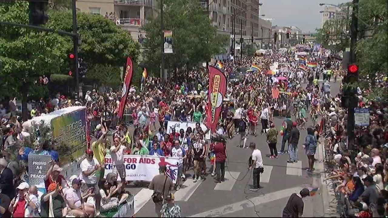 A view of the 2015 Chicago Pride Parade on June 28, 2015 near Broadway and Montrose in the citys Uptown neighborhood.