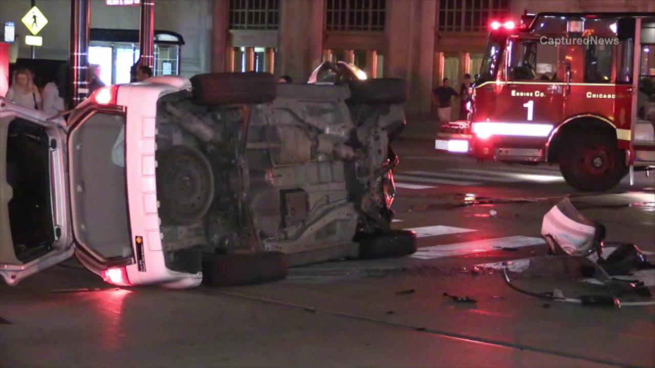 A cab rolled over in the Loop Saturday night.