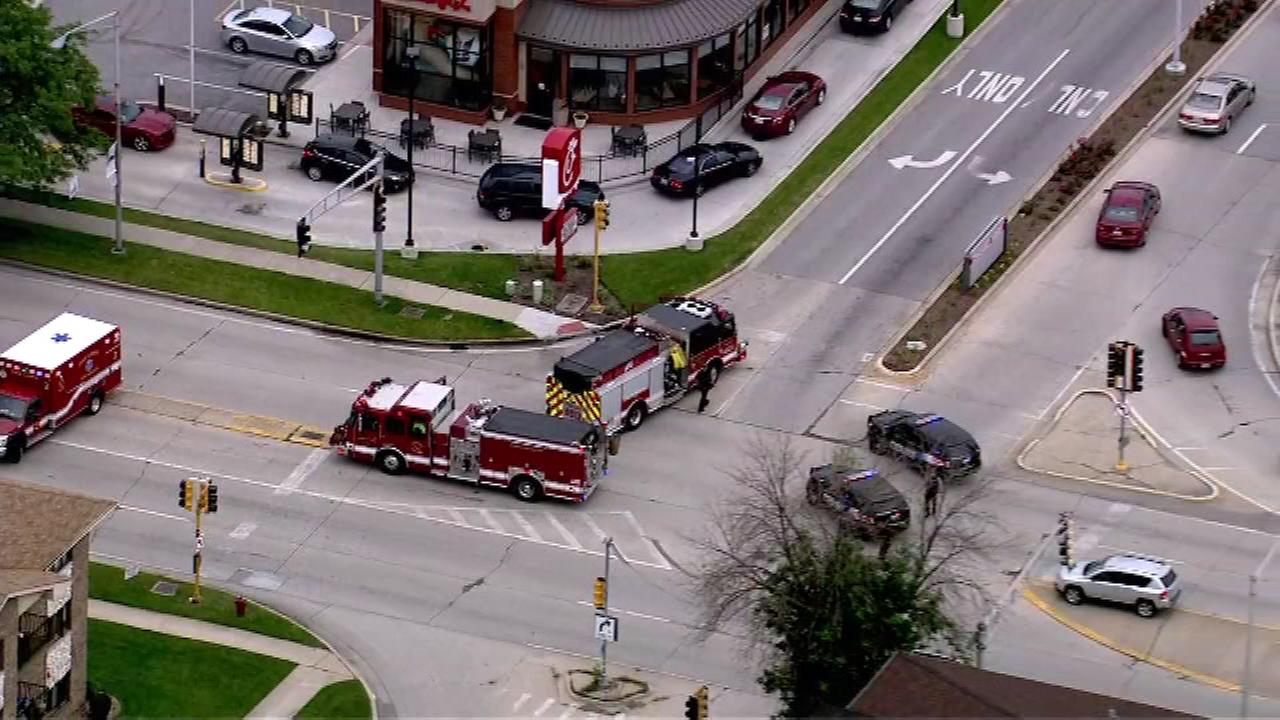 A car reportedly hit a person on a bike Wednesday afternoon near 95th and Ridgeway in Oak Lawn.