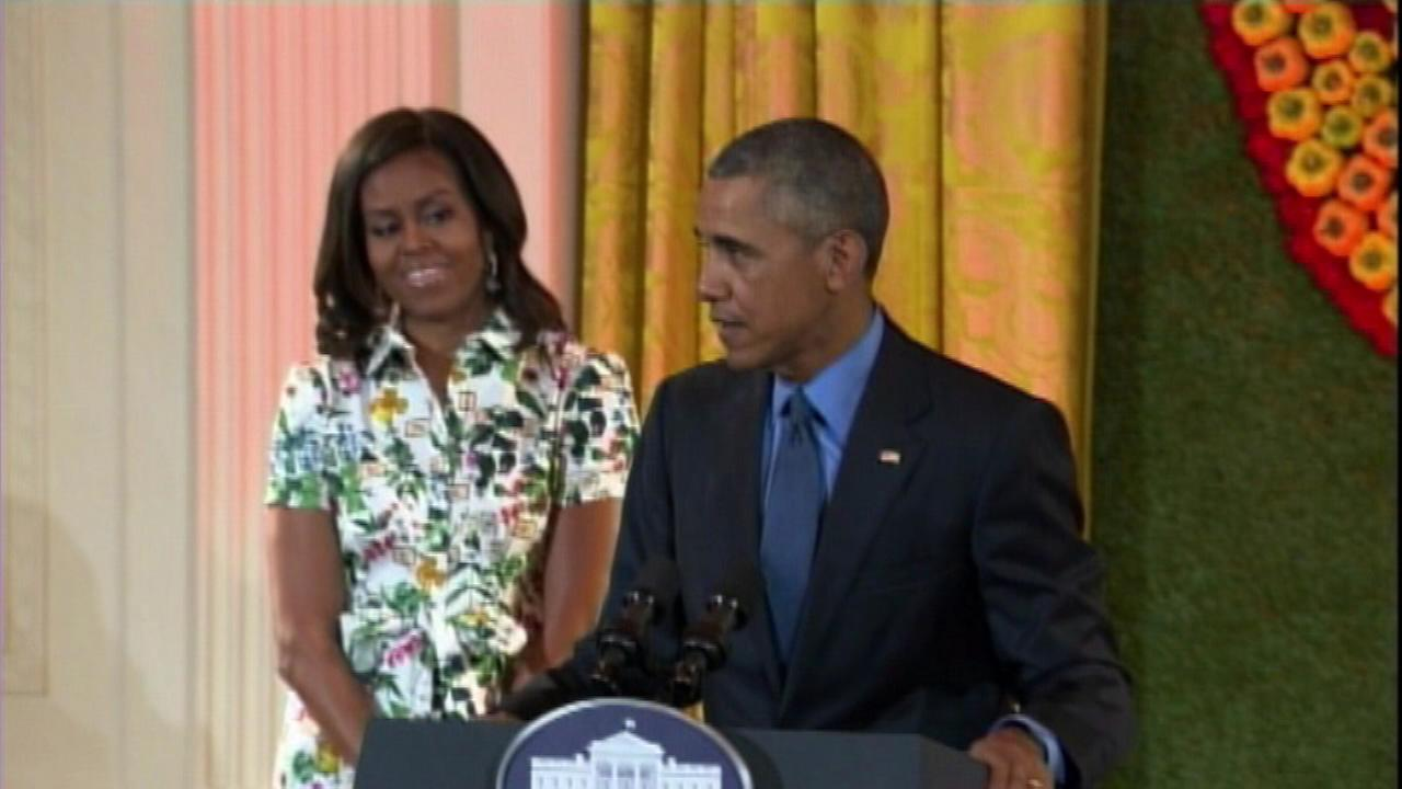 First Lady Michelle Obama was joined by President Obama when she  hosted a room full of child chefs Friday.