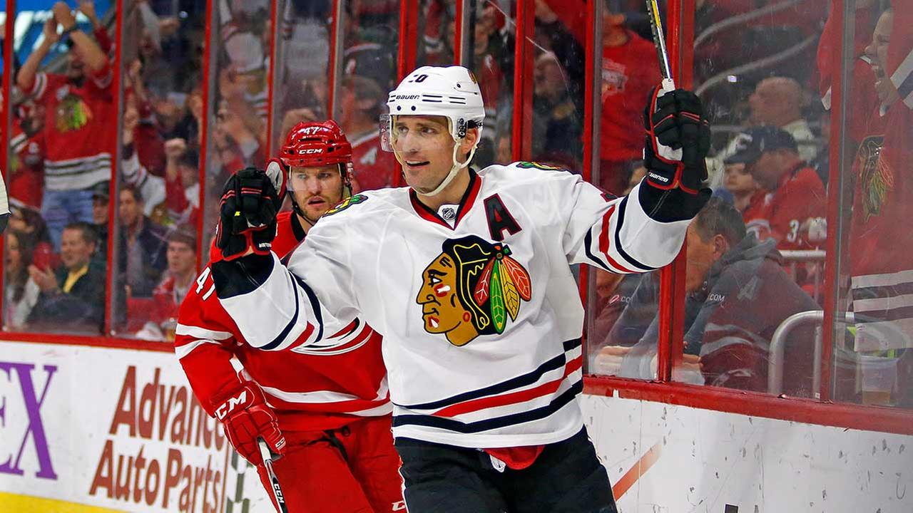 Patrick Sharp (10) was traded from the Chicago Blackhawks to the Dallas Stars, the team announced Friday, July 10, 2015.