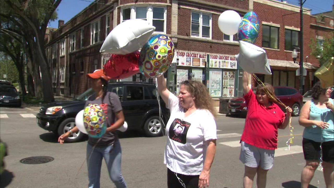 Balloons were released Sunday to honor the birthday of a teenager who was killed more than three and half years ago.