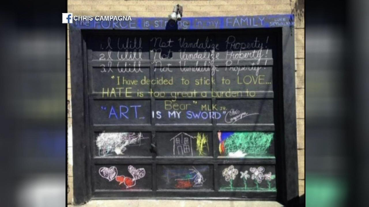 A Chicago artist decided to turn a negative into a positive after someone vandalized his garage in the Pullman neighborhood Monday.