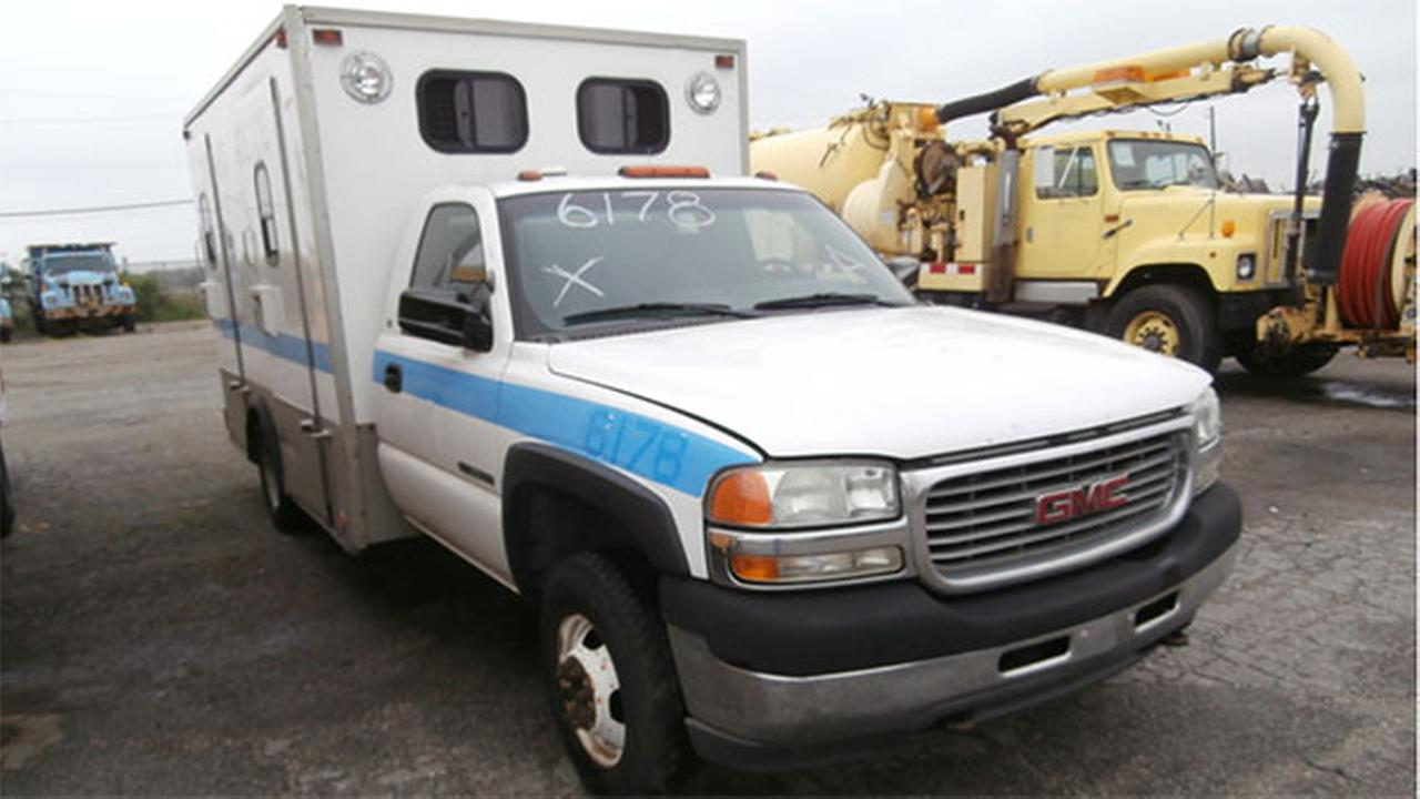 A used truck being available for bidding as part of the citys public surplus auction.