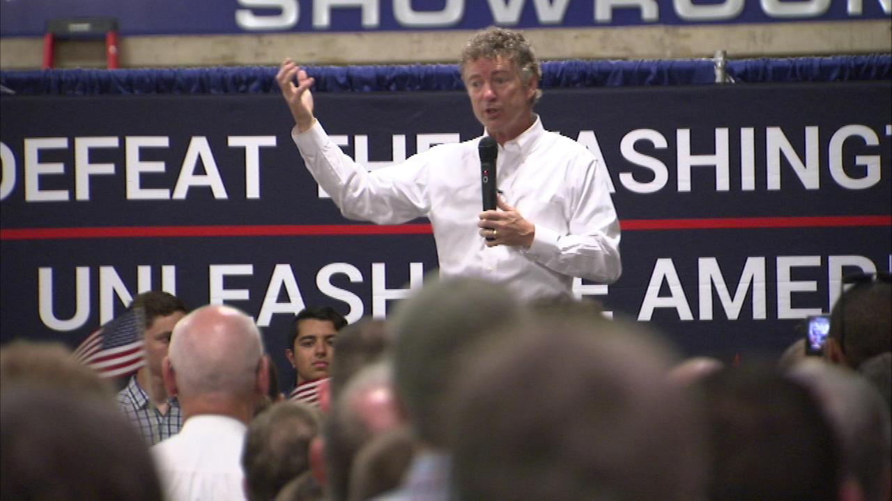 Republican Senator Rand Paul of Kentucky told a north suburban audience that if he is elected president, tax returns would be one page long.