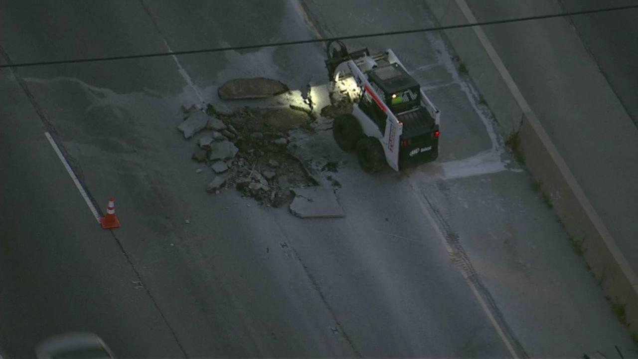Crews make emergency repairs after pavement buckled on Route 83 in west suburban Oakbrook Terrace.