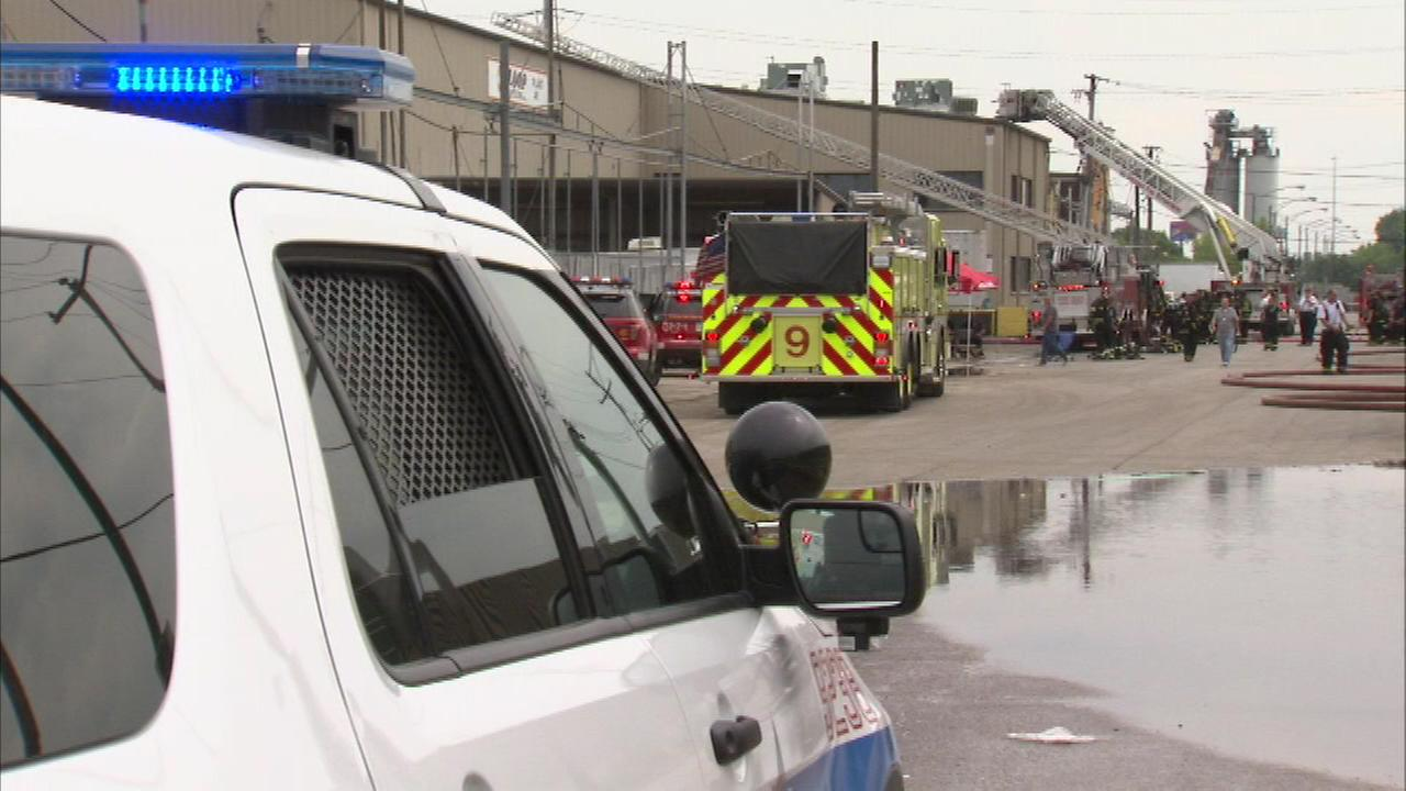 A Chicago firefighter was one of two people hurt after a fire broke out at a recycling plant on the citys Southwest Side Saturday afternoon.