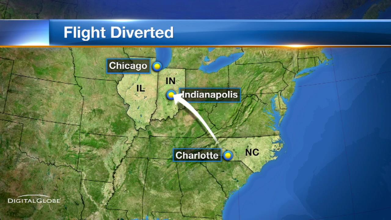 A United Express flight from Charlotte to Chicago made a landing in Indianapolis after a mechanical issue.