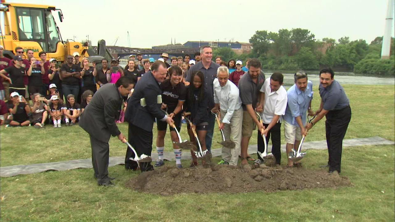 Crews broke ground on a new boat house in the Bridgeport neighborhood Sunday.