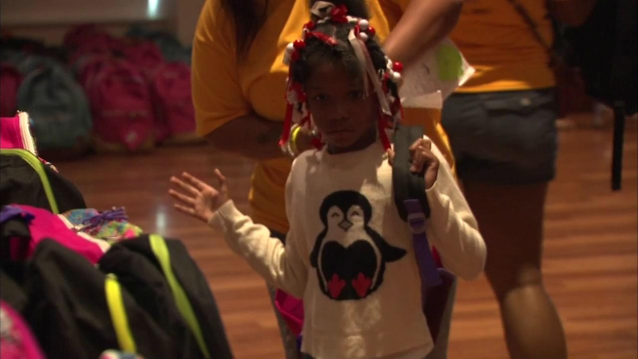 Students received free backpacks and other school supplies in the West Pullman neighborhood on the South Side.