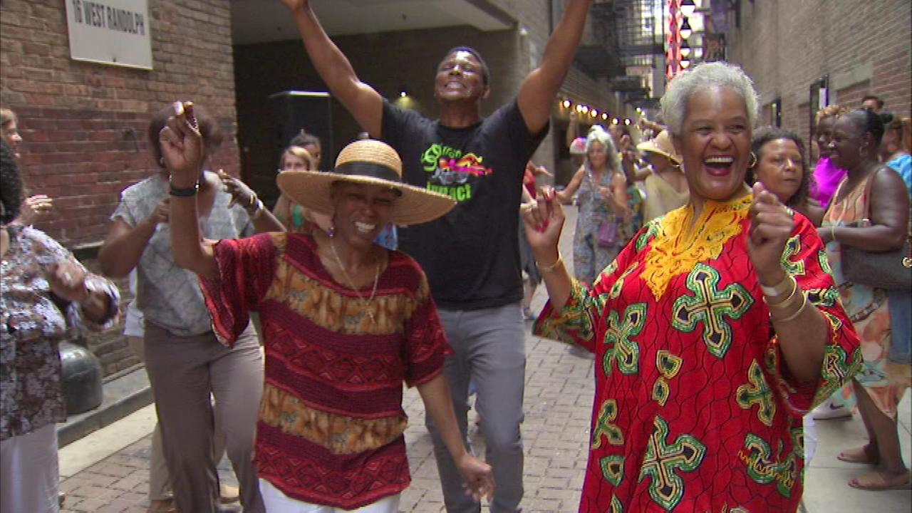 People young and old were busting moves at a Soul Train themed dance party in the Loop Saturday afternoon.