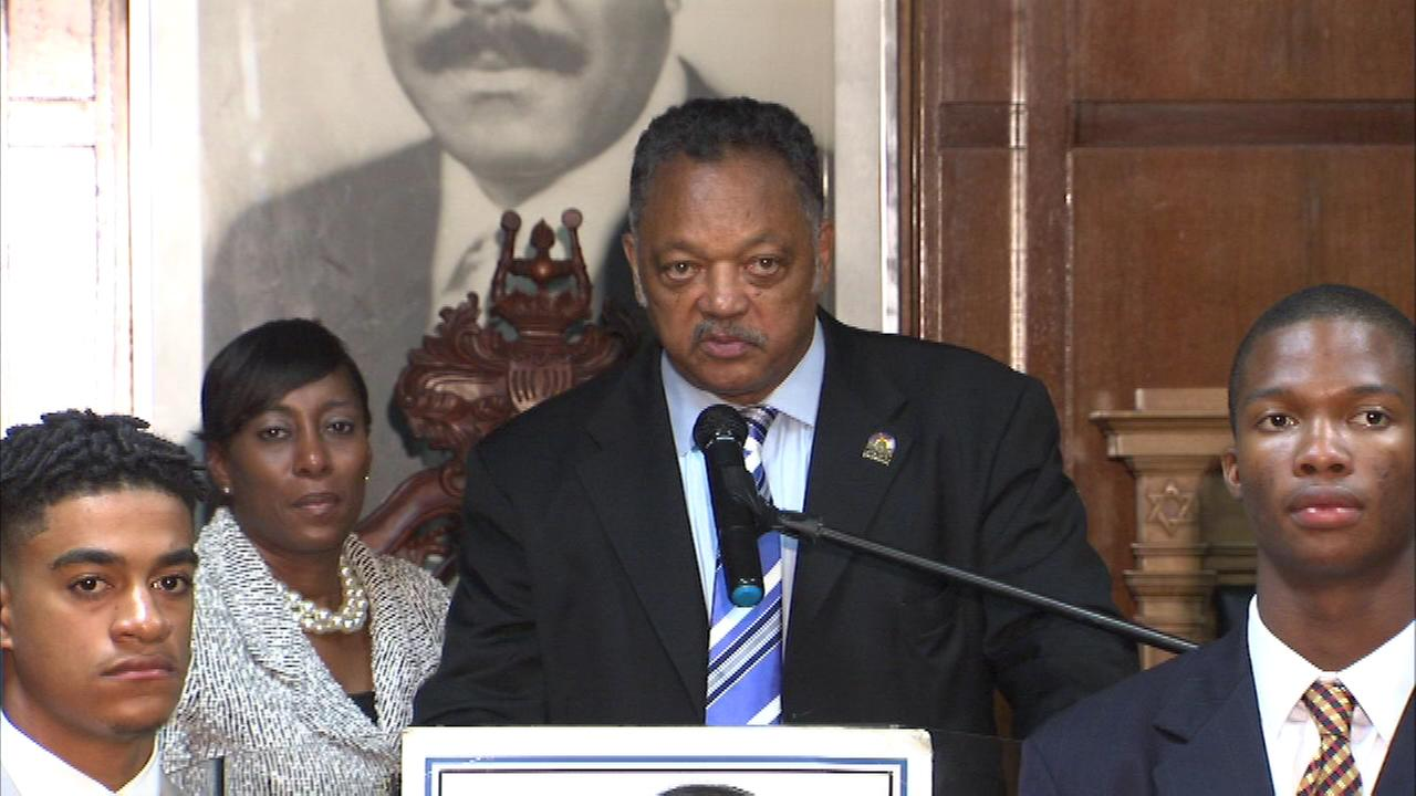 Rev. Jesse Jackson speaks at Rainbow Push Coalition headquarters.