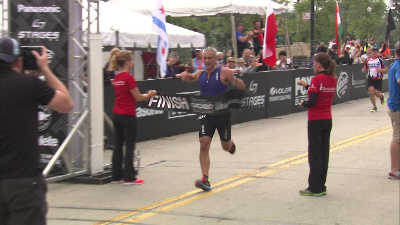 Mayor Rahm Emanuel was among the competitors in the Transamerica Triathlon in Chicago Sunday.