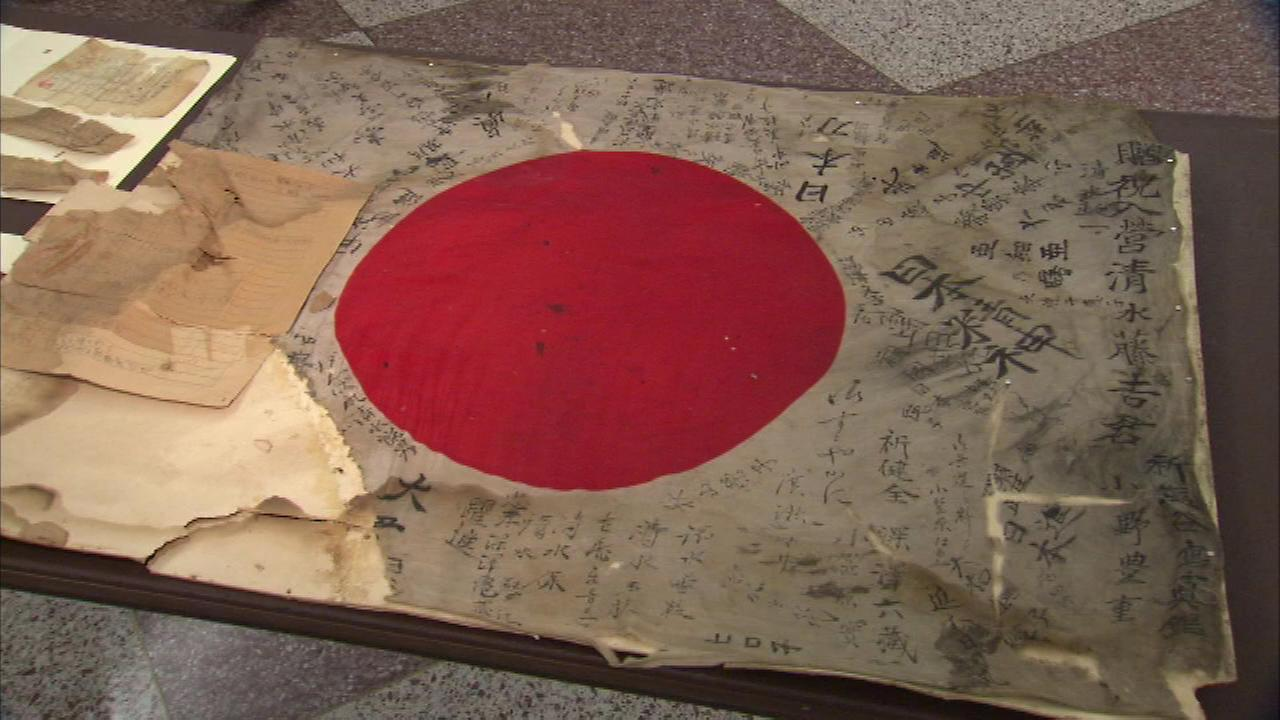 A rare WWII-era Japanese flag was discovered in a storage room in New Trier High School.